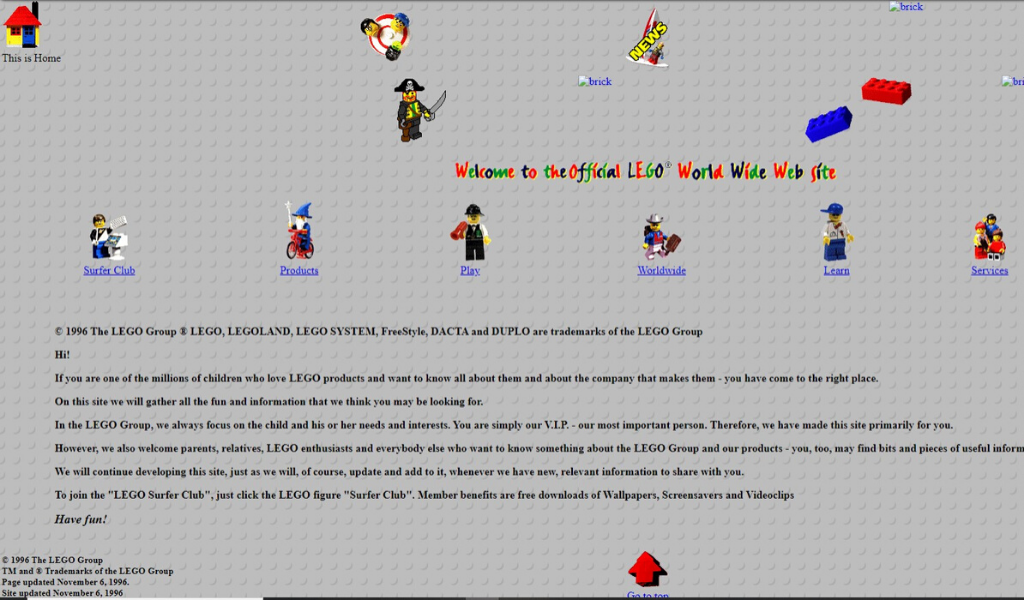 Lego Website 1996
