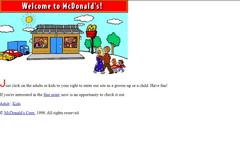 McDonalds Website 1996