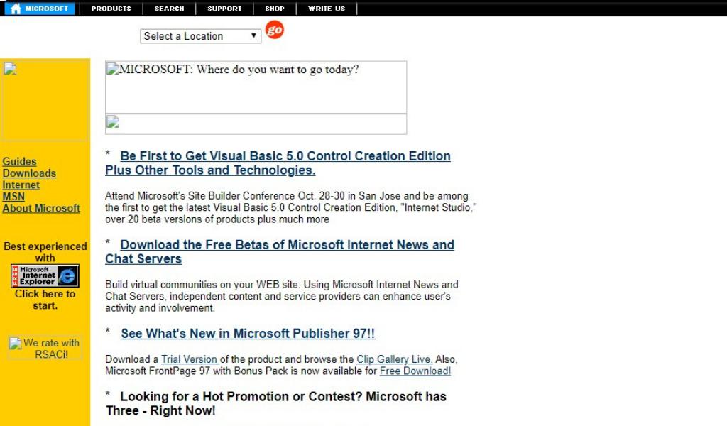 Microsoft Website 1996