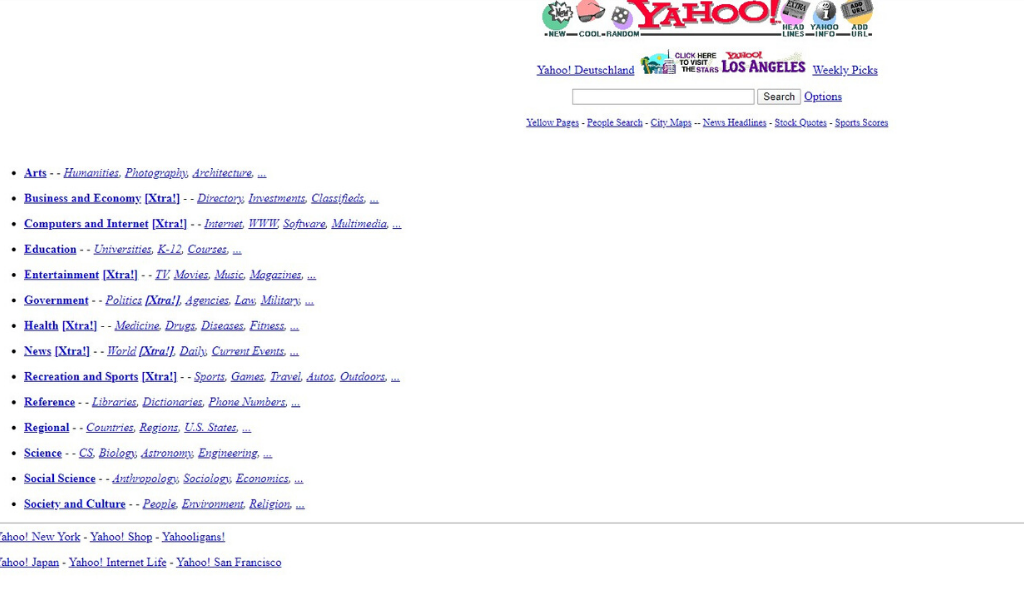 Yahoo Website 1996