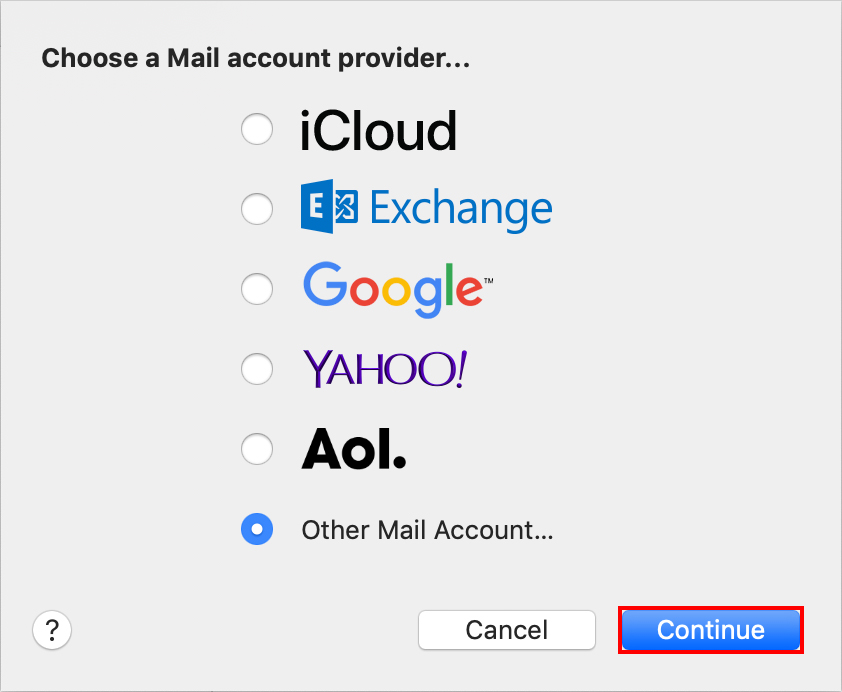 Choose Mac Mail Account Provider